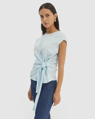 SABA Lucille Textured Wrap Top - Tops (Aqua )