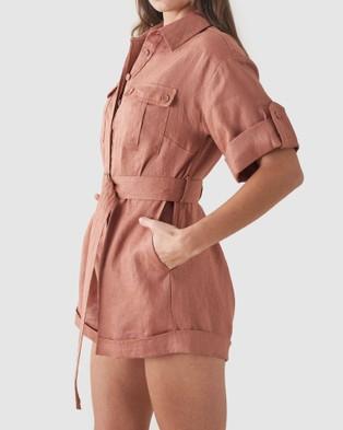Amelius Surreal Linen Playsuit - Jumpsuits & Playsuits (Dusty Rose)