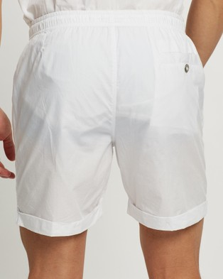 Merlino Street Cotton Pull On Shorts Chino White Pull-On