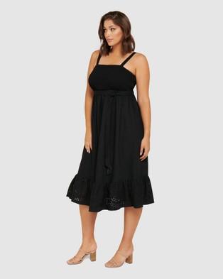 Forever New Curve Marianne Curve Shirred Midi Dress - Dresses (Black)
