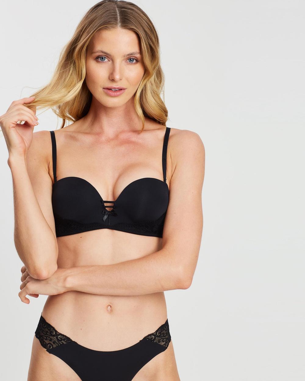 Cotton On Body Sophia Lace Strapless Push Up 2 Bra Underwear & Sleepwear Black Push-Up