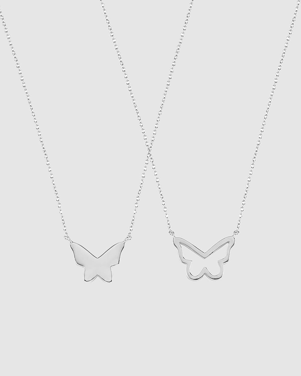 Secret Sisterhood Butterfly Friendship Necklaces Jewellery Silver