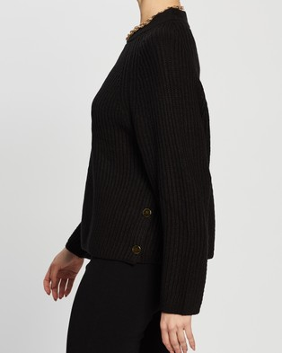 TOPSHOP Knitted Popper Side Jumper - Jumpers & Cardigans (Black)