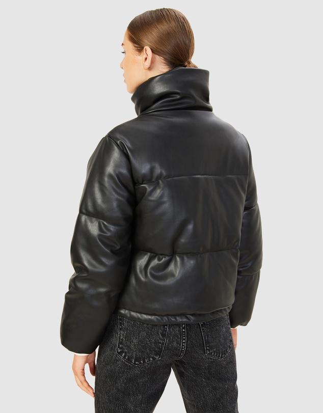 Women Leather Look Puffer