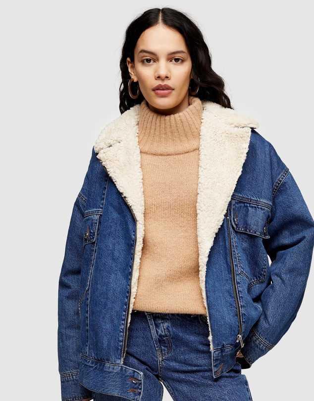 TOPSHOP - Oversized Borg Lined Biker Denim Jacket