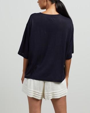 Andrea & Joen Martine Crop Tee - T-Shirts & Singlets (Navy)