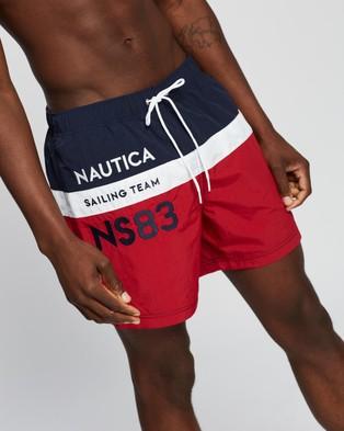 NAUTICA Heritage Piece Full Elastic Boardshorts - Swimwear (Nautica Red)