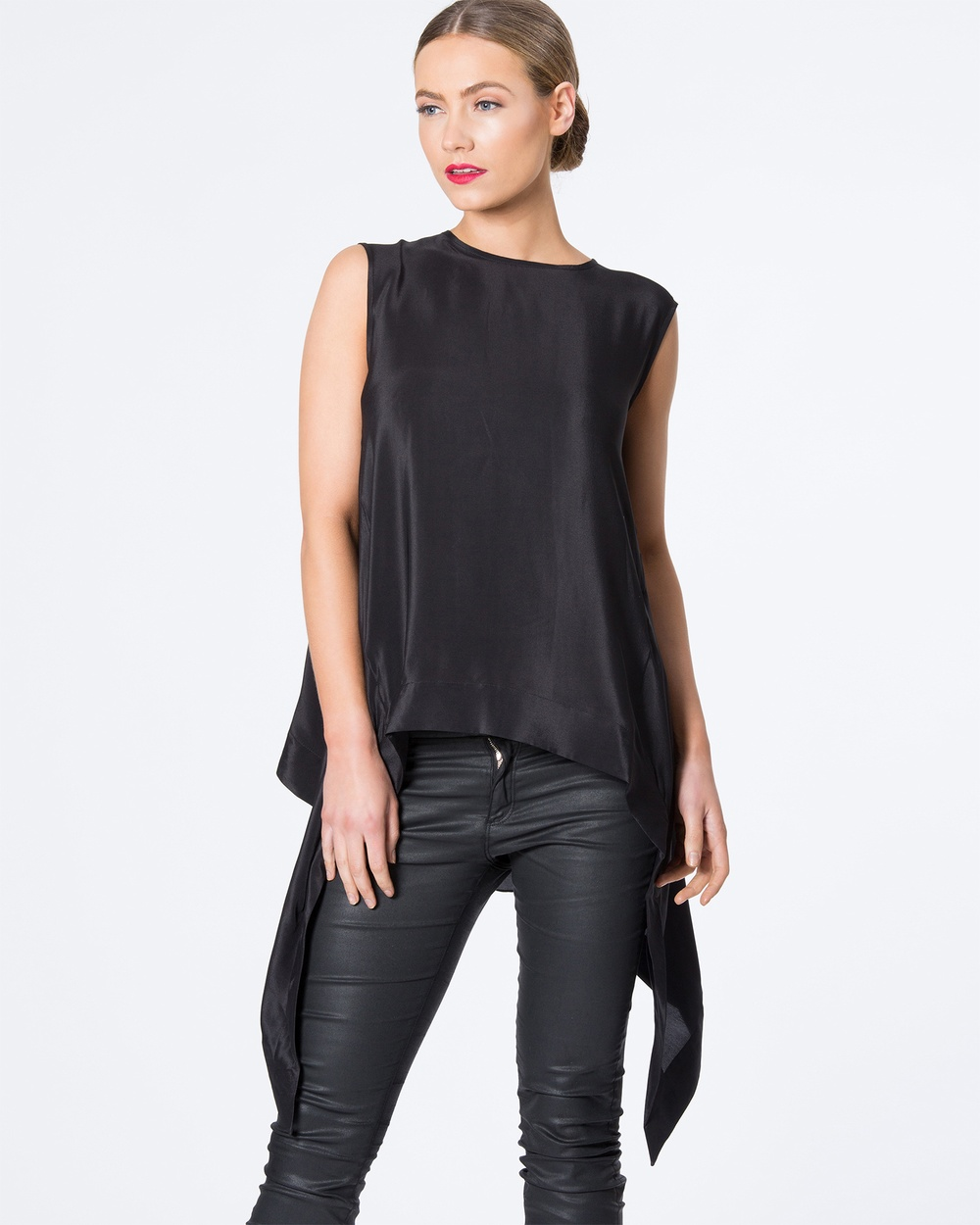 SIYONA Batwing Silk Top Tops Black Batwing Silk Top
