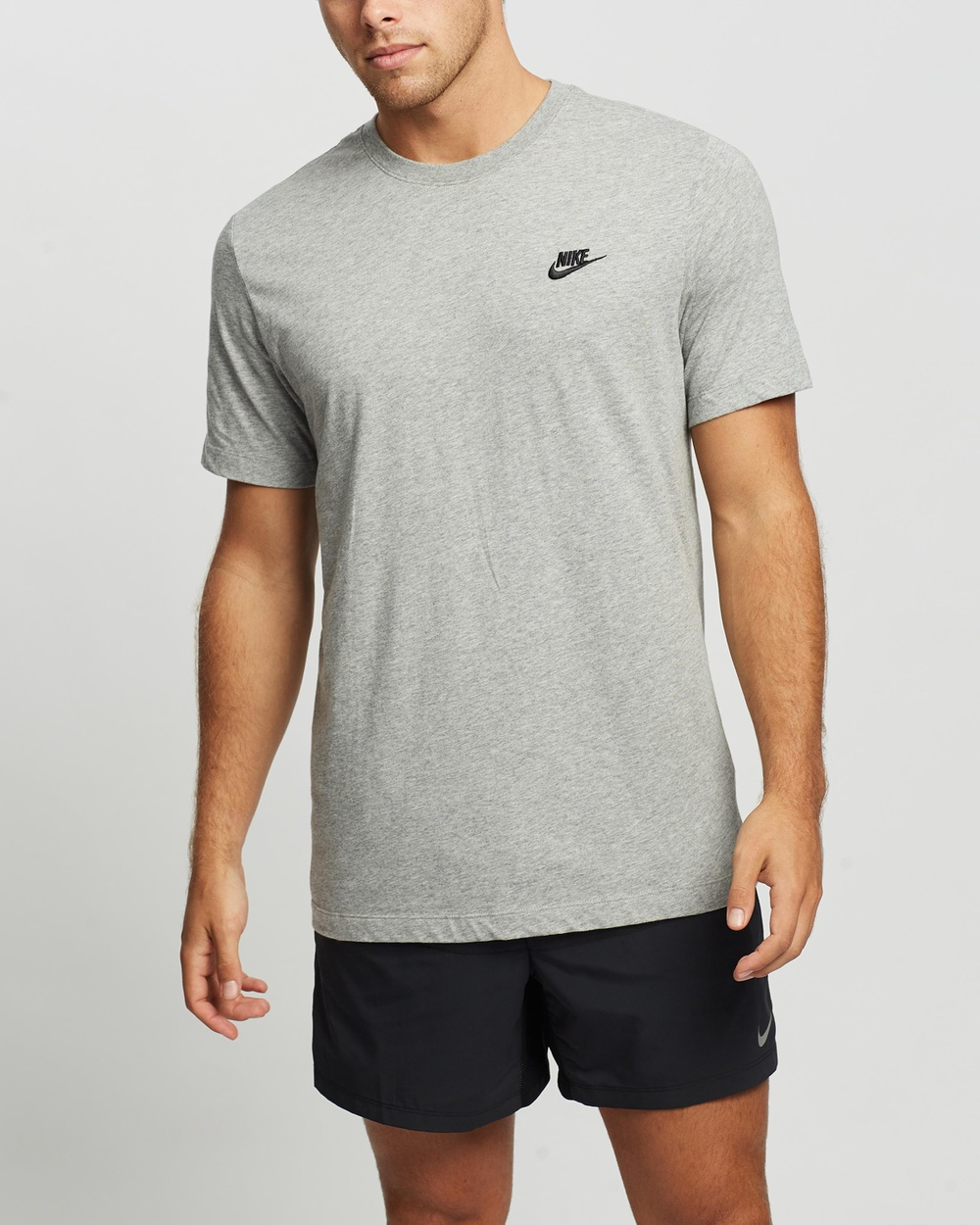 Nike - Sportswear Club Tee - Short Sleeve T-Shirts (Dark Grey Heather & Black) Sportswear Club Tee