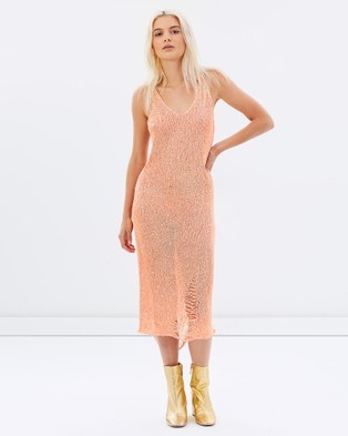 AsIAm – Fire Dust Midi Dress Coral