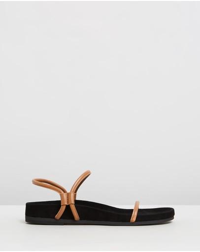 Caverley Oscar Suede Leather Sandals Tan