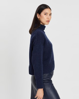 ENA PELLY Turtleneck Cropped Knit - Jumpers & Cardigans (Navy)
