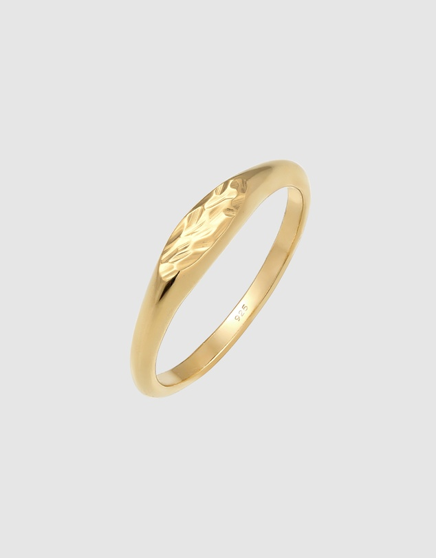 Women Ring Pinky Hammered Minimalist in 925 Sterling Silver Gold Plated