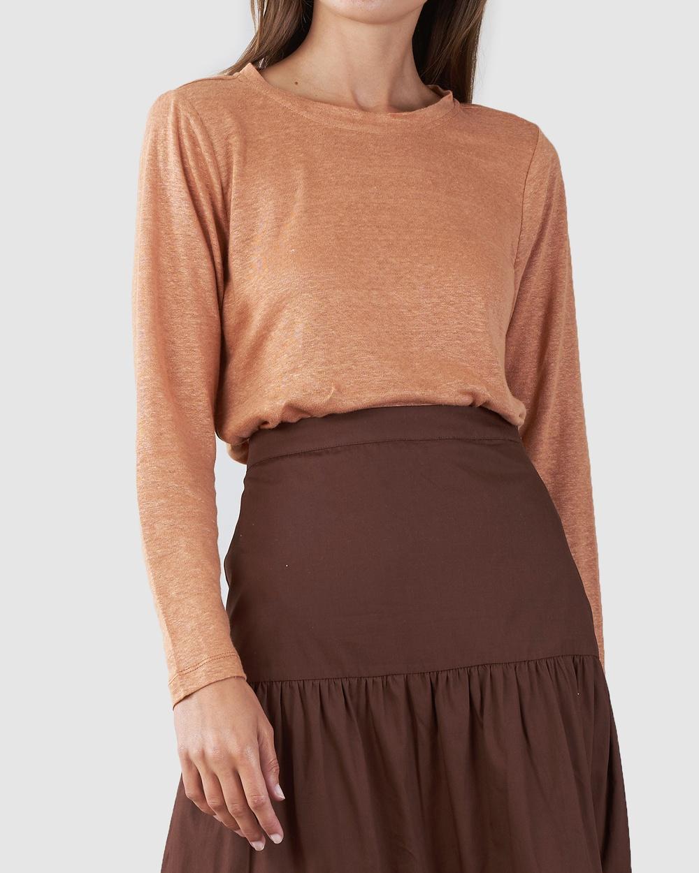 Amelius - Priya Long Sleve Linen T Shirt - Long Sleeve T-Shirts (Rust) Priya Long Sleve Linen T-Shirt