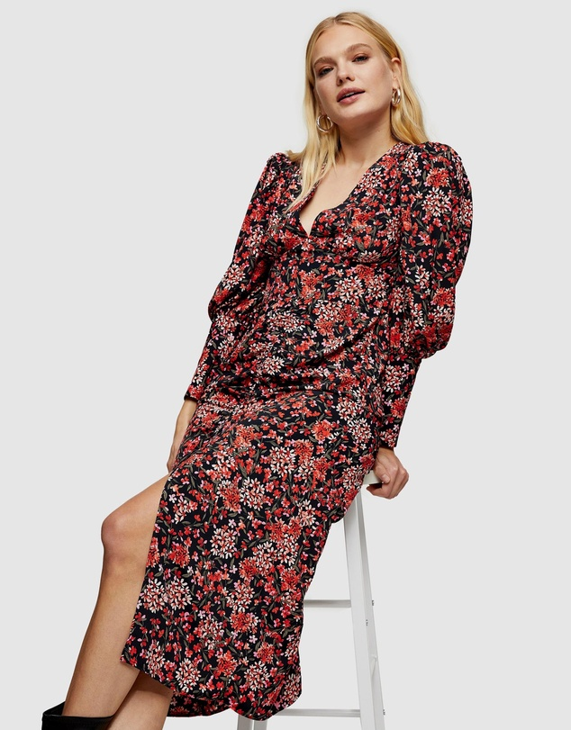 Women Ruched Front Floral Print Midi Dress