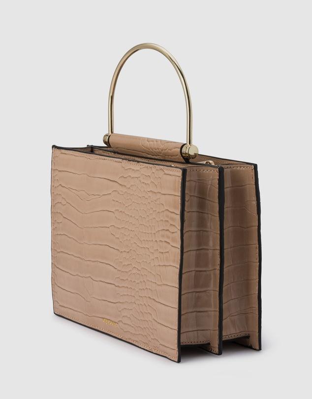 Women Floss Square Croc Metal Handle Bag