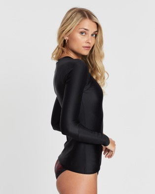 Duskii Fleur Long Sleeve Rash Top - Swimwear (Black)