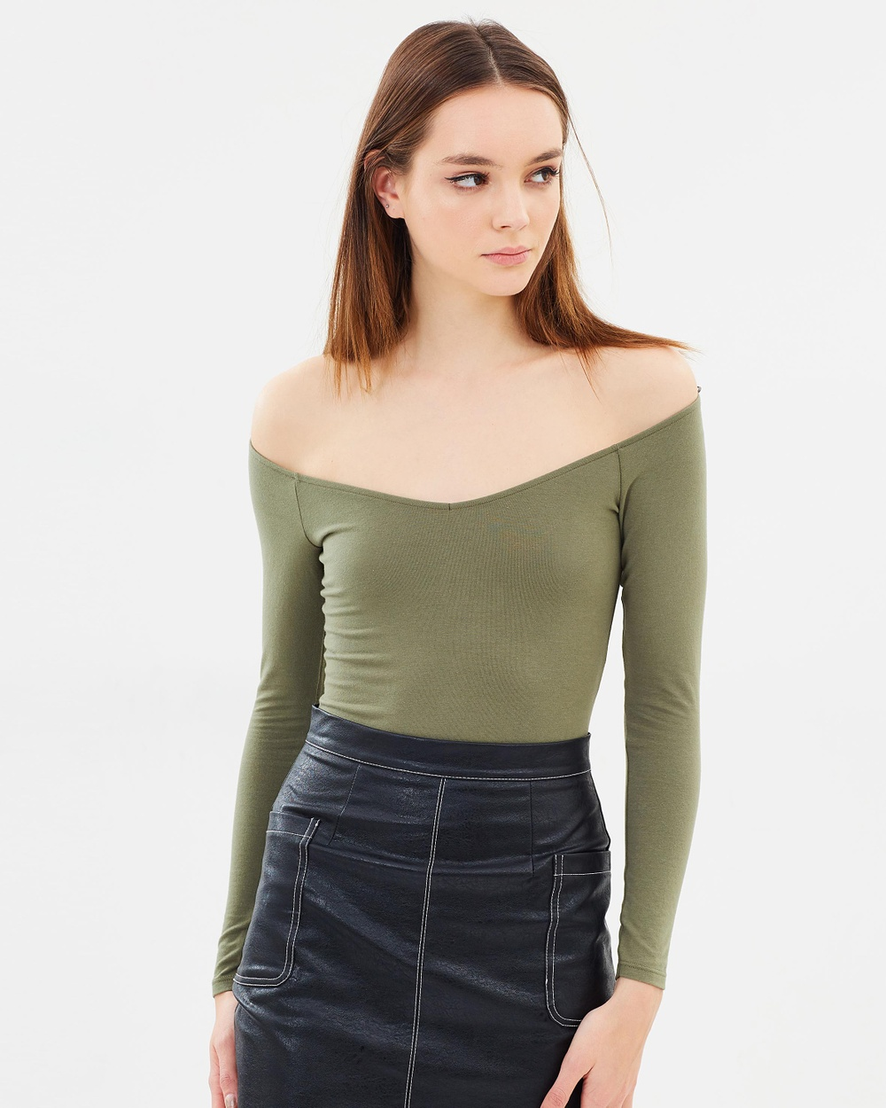 Miss Selfridge Ballet Bodysuit Tops Dark Green Ballet Bodysuit