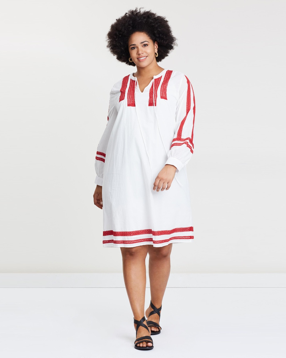 Wite Plus White & Red Sorento Dress
