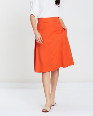 Privilege A Line Skirt - Pleated skirts (Orange)