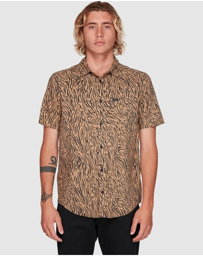 Rvca Restless Short Sleeve Top Honey