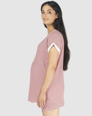 Pea in a Pod Maternity Riya PJ Set - Two-piece sets (Red White Stripe)