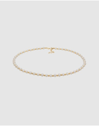 Elli Jewelry Necklace Simple Collier With Freshwater Pearls In 925 Sterling Silver Gold Plated White