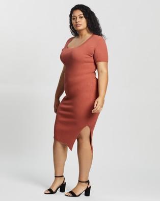 Atmos&Here Curvy Izabel True Knit Dress - Bodycon Dresses (Rust)