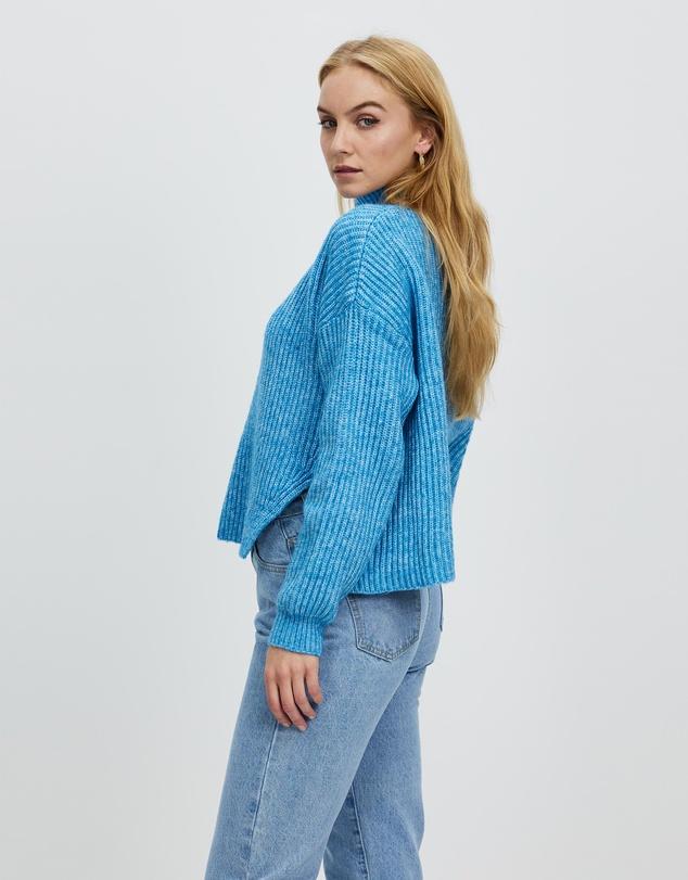 Women Blue Long Sleeve Jumper