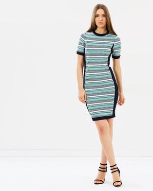 Karen Millen – Striped Fitted Knit Dress – Bodycon Dresses (Multicolour)