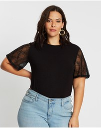 Atmos&Here Curvy - Sara Lace Sleeved Tee