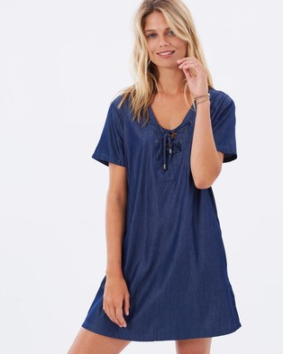 Atmos & Here – Liza Tie Front Dress – Dresses (Chambray Wash)