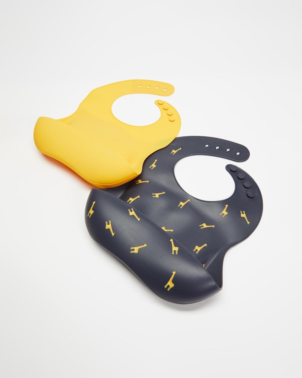 Bebe by Minihaha 2 Pack Silicone Bibs Babies Giraffe Print & Mustard