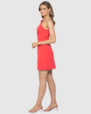 Forever New Sophia One Sleeve Mini Dress - Bridesmaid Dresses (Peony Coral)