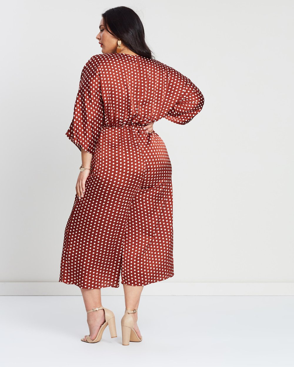 58f14b16ae8 Kimono Sleeve Polka Dot Culotte Jumpsuit by Missguided Curve Online ...