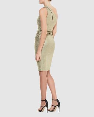 Montique Ivanka One Shoulder Dress - Bodycon Dresses (Gold)