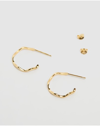 Carly Paiker Wave Hoops Gold