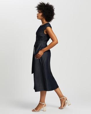 David Lawrence Tessa Tencel Midi Dress - Dresses (Ink)