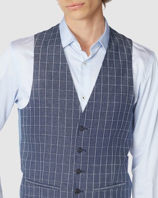 Jack London Linen Check Waistcoat - Coats & Jackets (Blue)