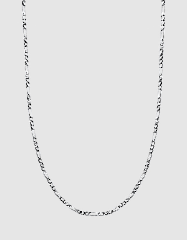 Kuzzoi - Necklace Figaro Chain Basic Massive Oxidised in 925 Sterling Silver