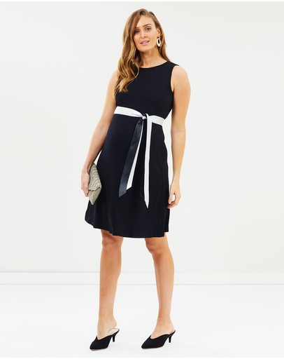 Angel Maternity Shift Party Bow Details Dress Black