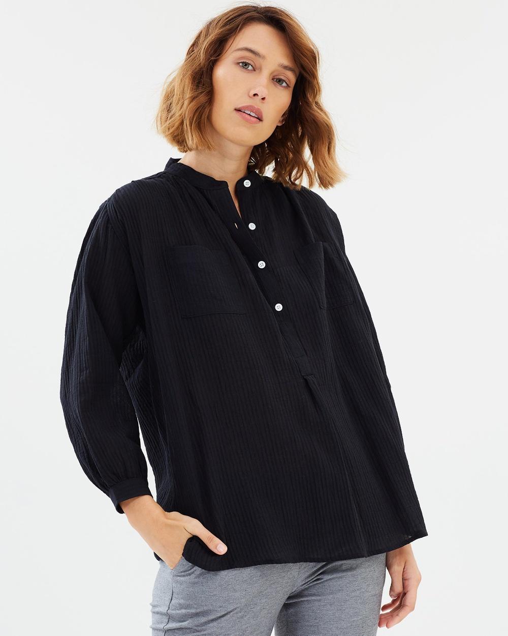Weathered Nina Relaxed Shirt Tops Black Nina Relaxed Shirt