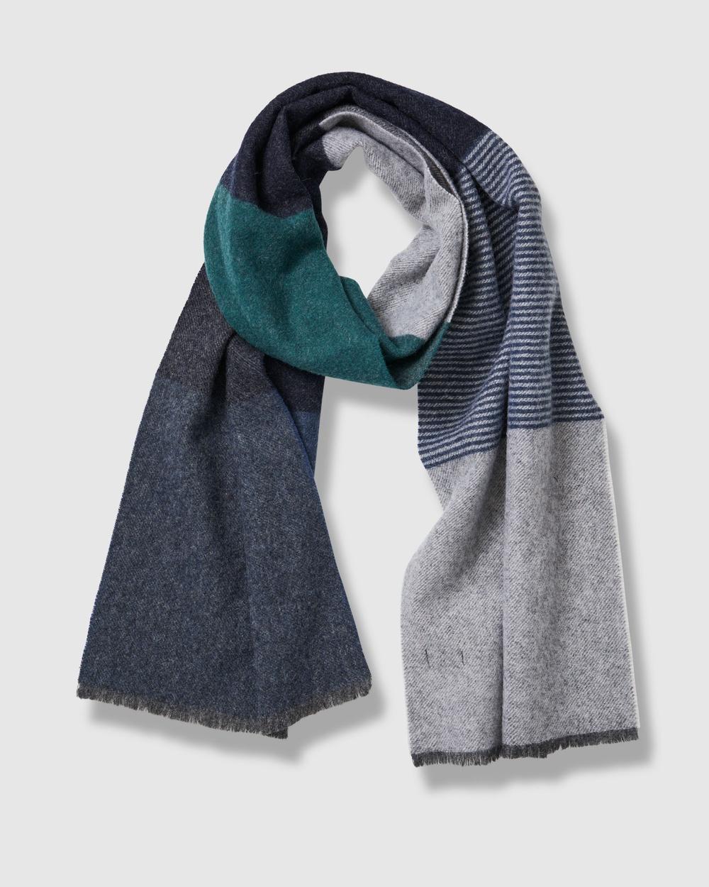 Gazman Wool Block Stripe Scarf Scarves & Gloves Forest