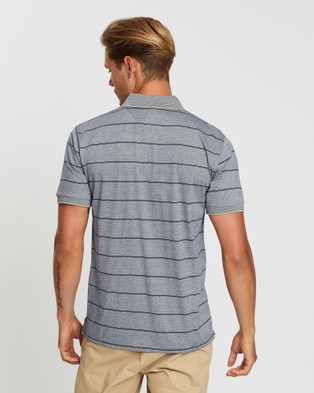 Gieves and Hawkes Striped Cotton Pique Polo - Shirts & Polos (Blue)
