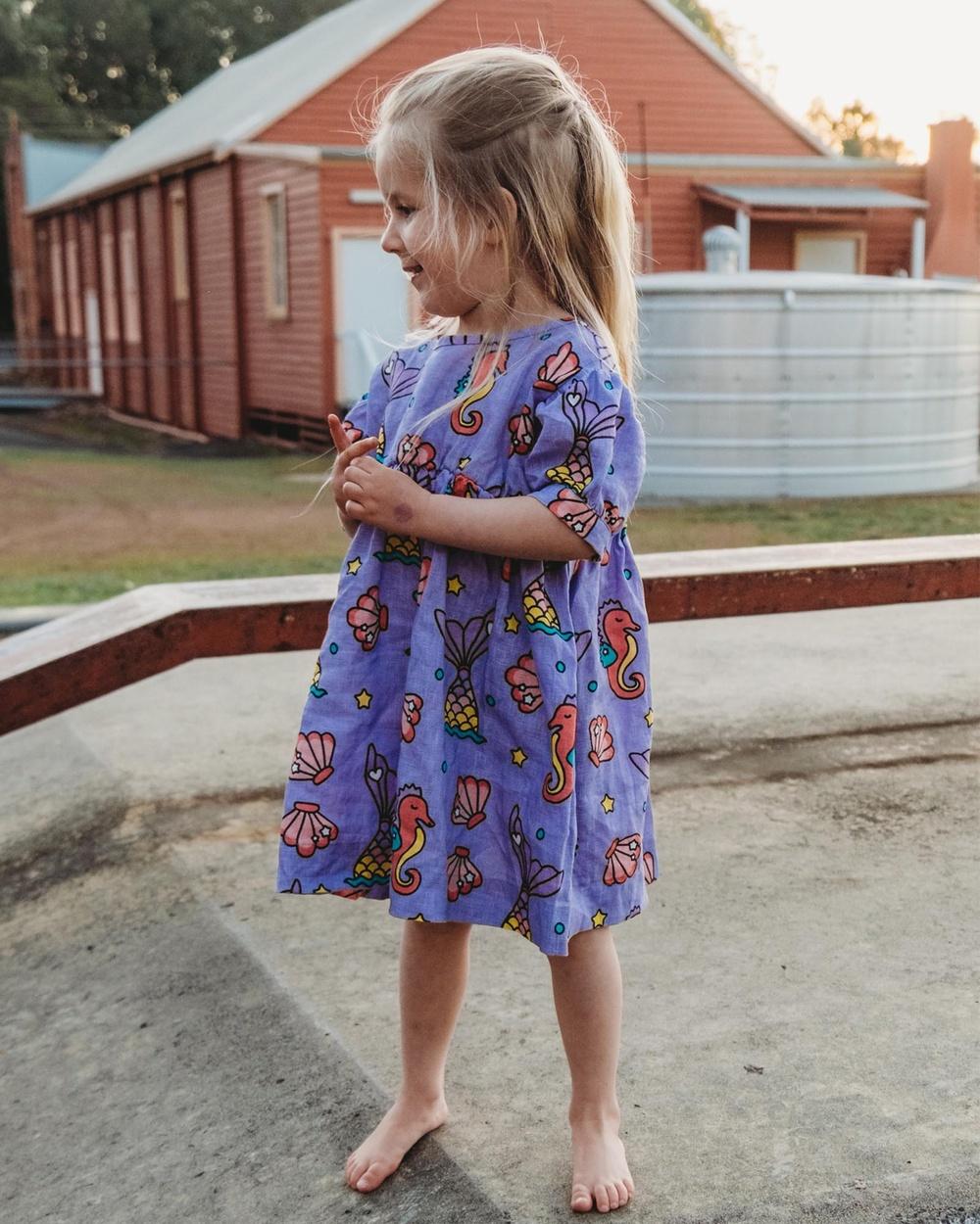 Goldie + Ace ICONIC EXCLUSIVE Mia Magical Sea Print Linen Dress Babies Kids Printed Dresses Purple Babies-Kids Australia
