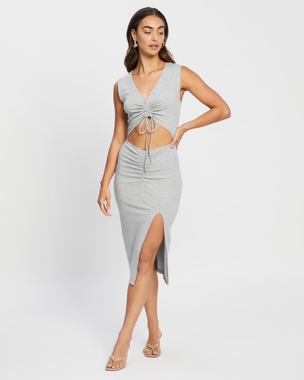 4th & Reckless Jett Dress Bodycon Dresses Grey Jersey