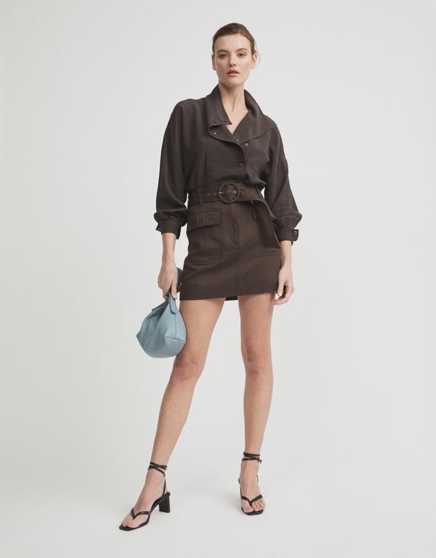 Women Belted Utility Skirt