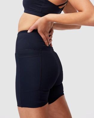 Cotton On Body Active Rib Pocket Bike Shorts - 1/2 Tights (Navy Rib)