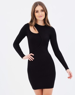 Lost Ink – New Cut Out Knit Body Con Dress – Bodycon Dresses Black