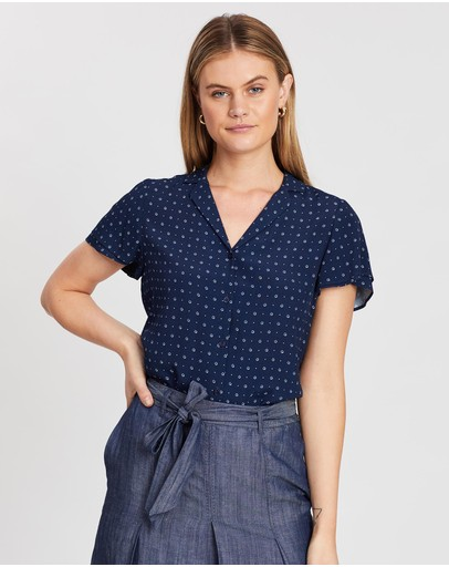Marcs Dotty Viscose Blouse Navy Multi